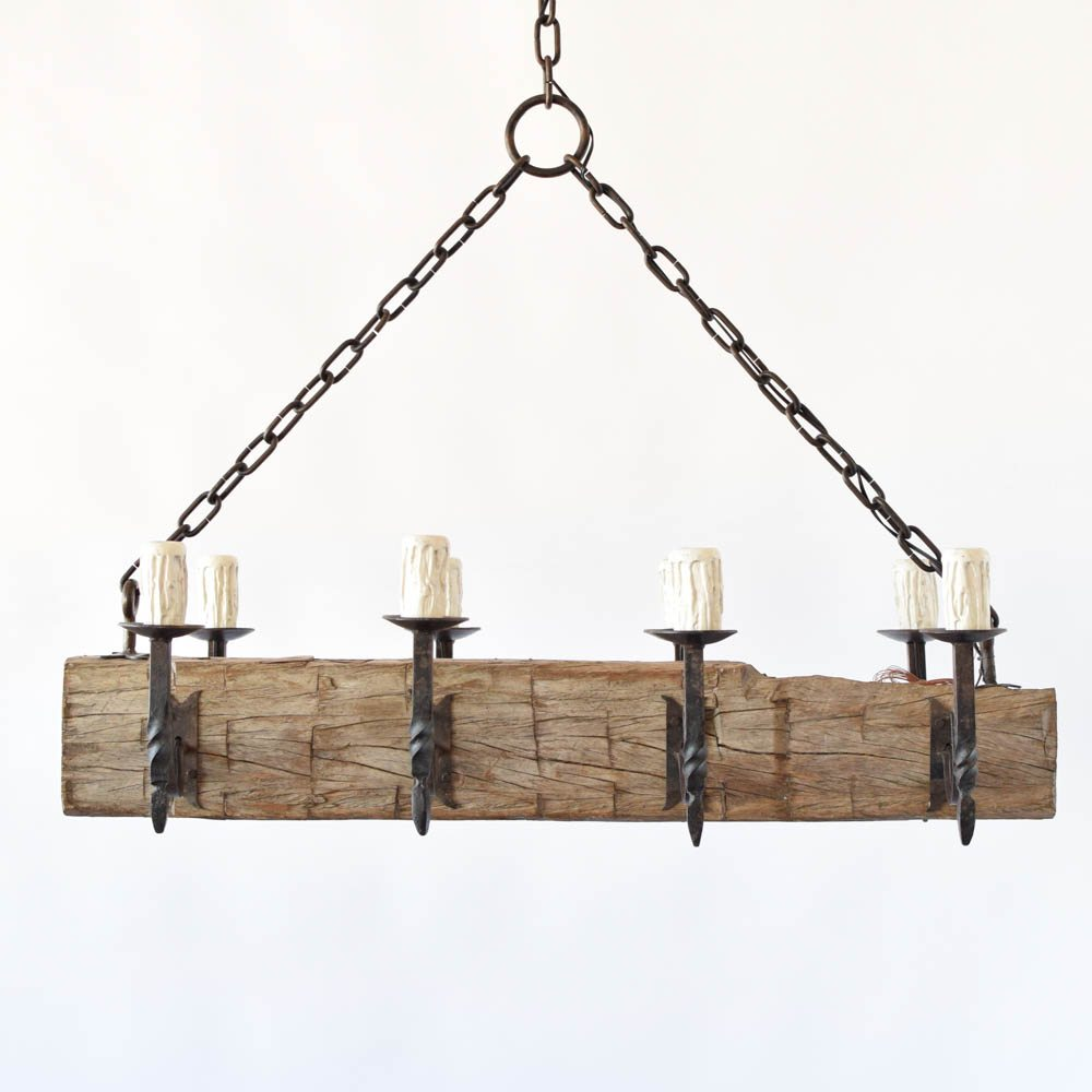 Large Rustic Beam Chandelier The Big Chandelier