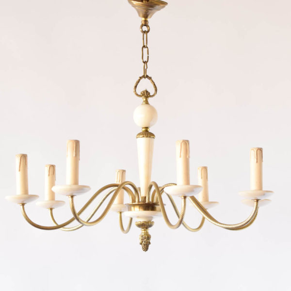 Vintage Marble Chandelier with Bronze Arms