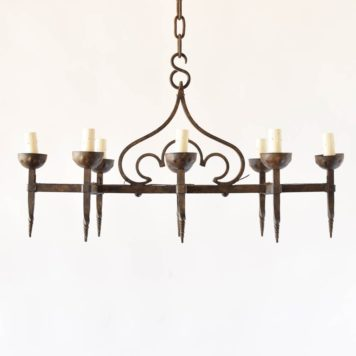 Vintage Belgian Chandelier with Elongated Form