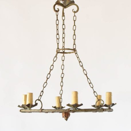 Vintage French Chandelier with Flat Form suspended from 4 chains with iron collector