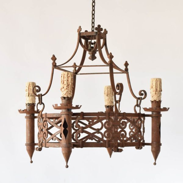 Antique French Iron Chandelier from a Castle