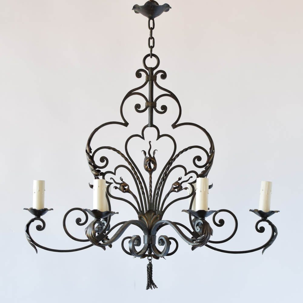 French chandelier wtassel the big chandelier vintage french iron chandelier with elongated shaped and tassel finial aloadofball Gallery
