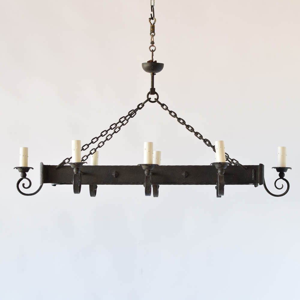 Vintage Iron Chandelier With Rectangular Form