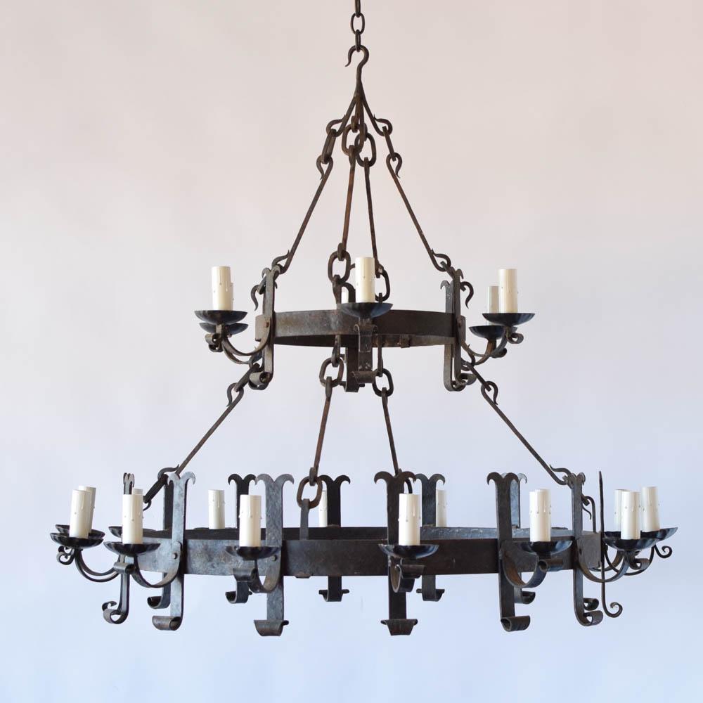 Large 2 tier iron chandelier the big chandelier vintage 2 tier iron ring chandelier aloadofball Choice Image