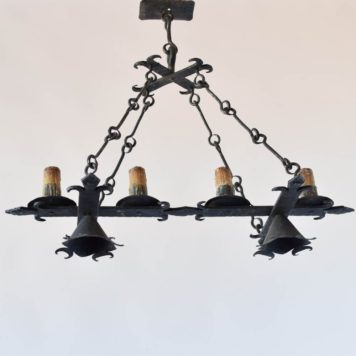 Vintage Spanish Chandelier with Elongated Fleur de Lis motif