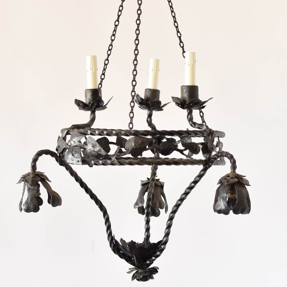 Leafy iron chandelier the big chandelier iron frecnh chandelier with handmade leaves aloadofball Image collections