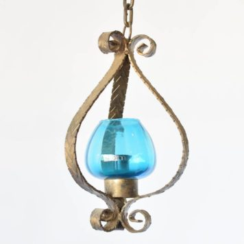 Vintage Lantern with Original Blue Glass