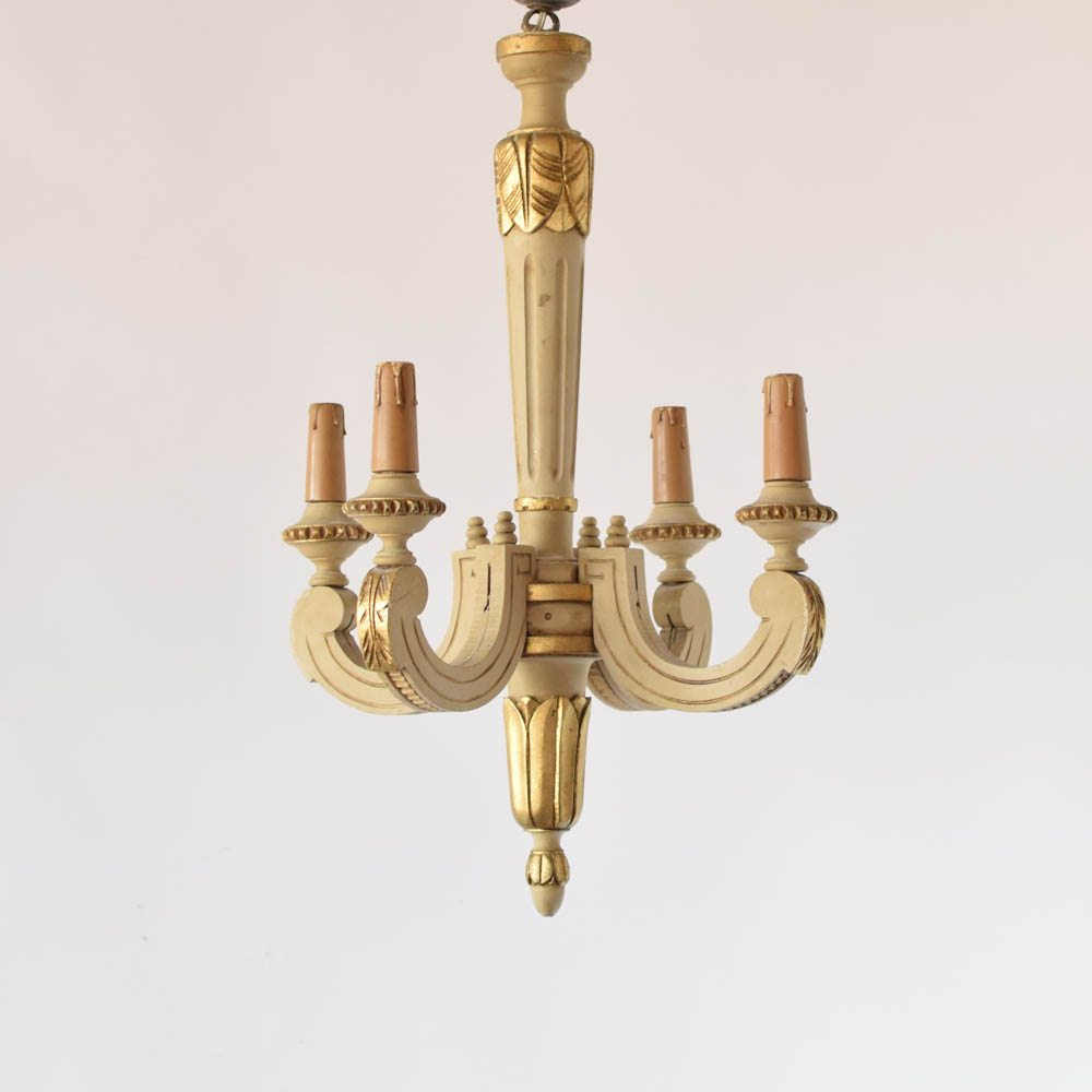 Italian Wood Chandelier With Original Painted Finish