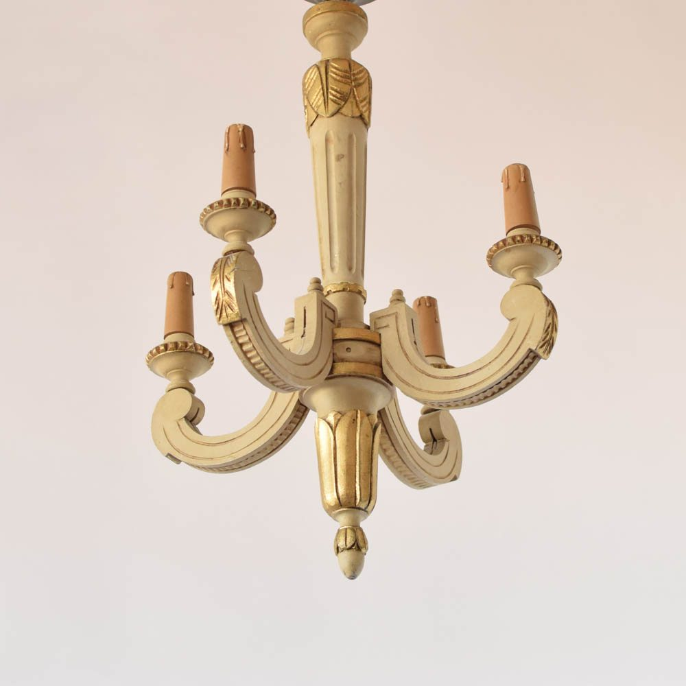 Italian Wood Chandelier With Original Painted Finish 550