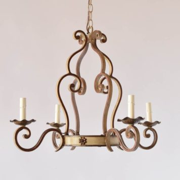 Vintage French Chandelier with Creme and Maroon Patina