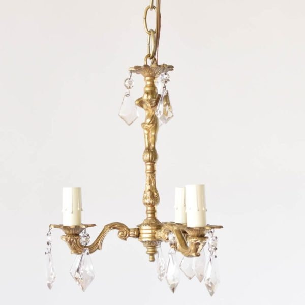 Pair of Vintage Bronze French Chandelier with Crystals Accented by Cherub Column