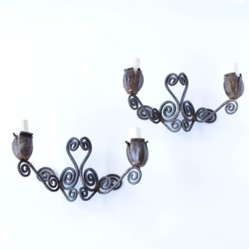 Vintage Iron Sconces with Tulip Bulb Decoration