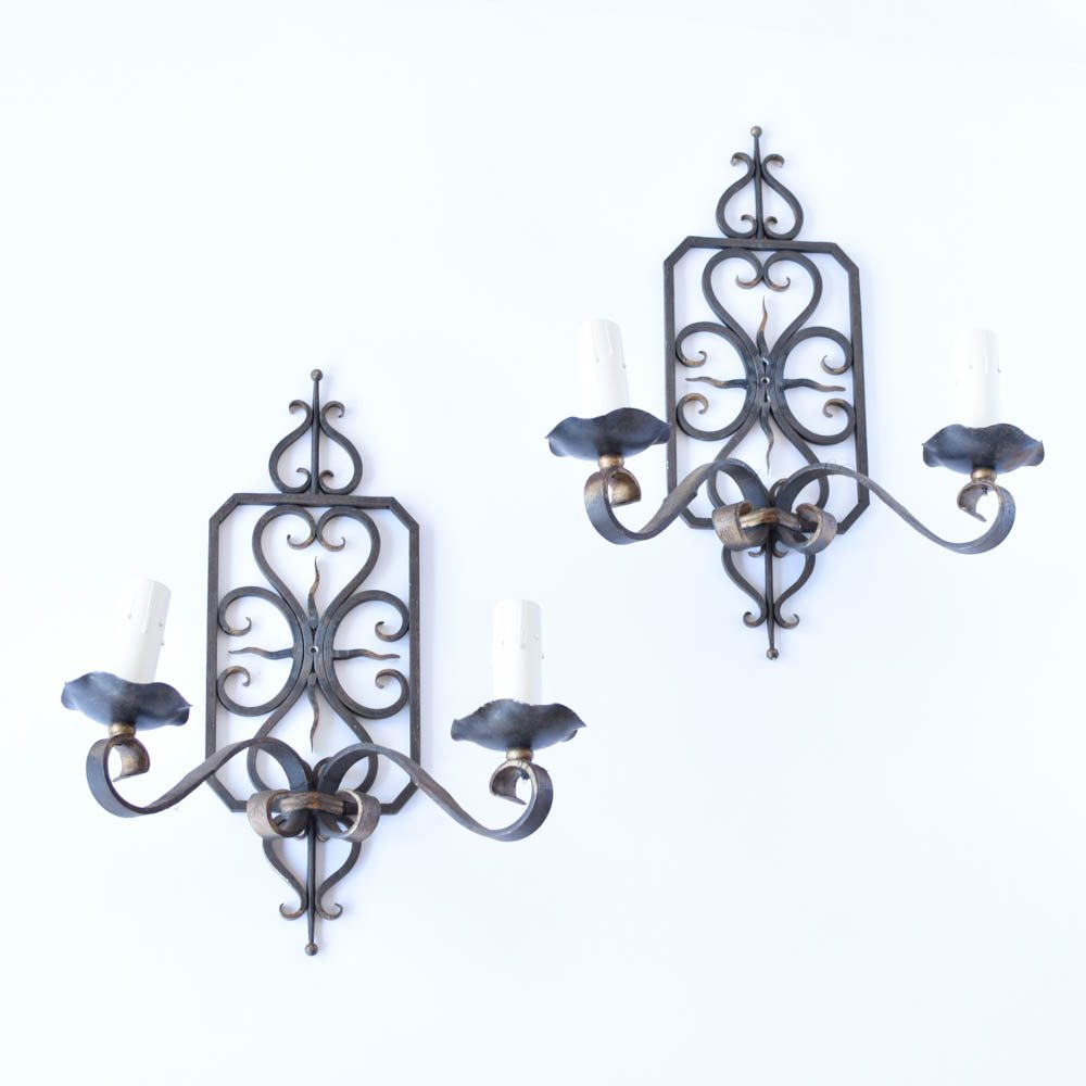 Vintage French Iron Sconces with Hand Forged