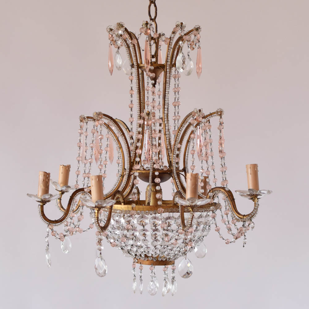 Italian chandelier wpink crystals the big chandelier italian chandelier with beaded arms and pink crystals aloadofball Gallery
