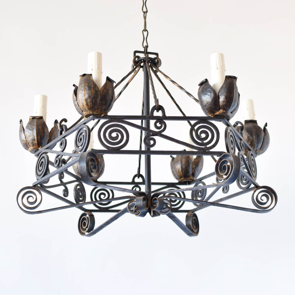 Iron chandelier wtulip bobeches the big chandelier aloadofball Choice Image