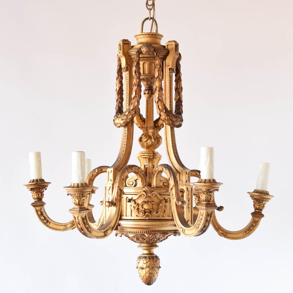 gilded wood louis xvi chandelier the big chandelier. Black Bedroom Furniture Sets. Home Design Ideas
