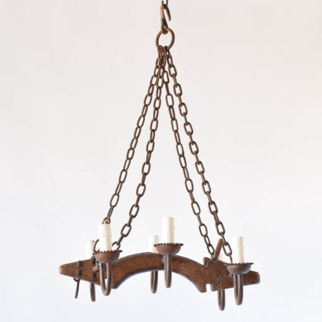 Rustic Belgian Yoke Chandelier with Wood and Iron Arms