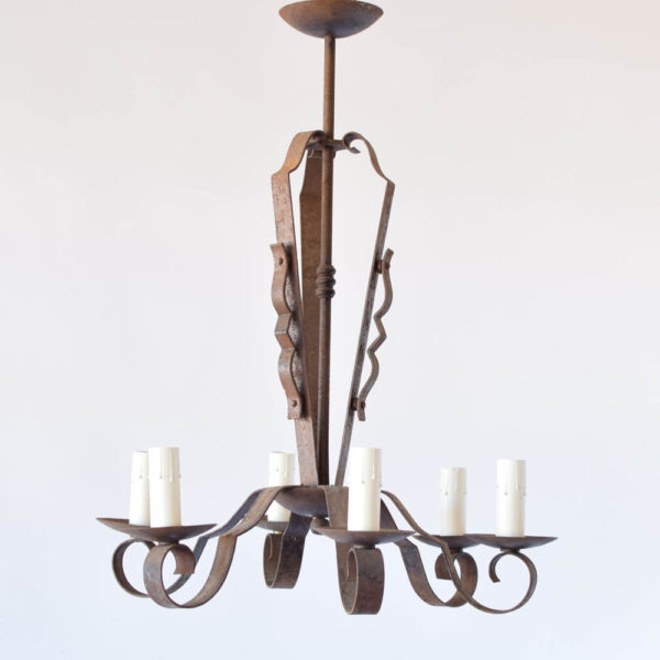 Tall French Iron Chandelier