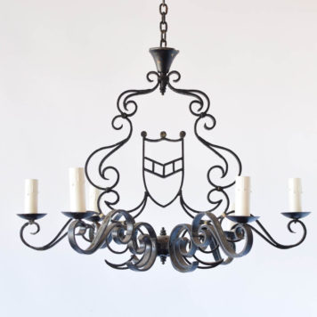 Iron Chandelier with Central Shield