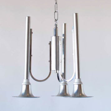 Mid Century Chrome Chandelier with 3 lights
