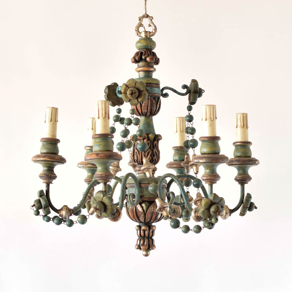 Italian wood beads chandelier the big chandelier vintage italian wood chandelier with wood beads aloadofball Image collections