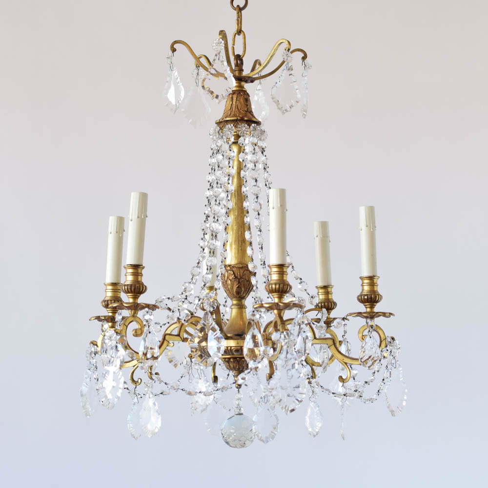 Vintage French Crystal Chandelier With Bronze Frame