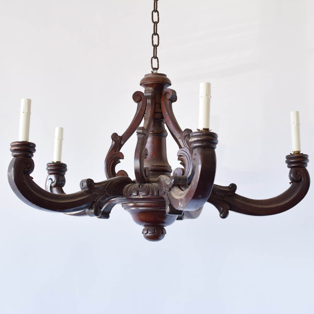 Antique French Wood Chandelier - Antique Wood Chandelier - The Big Chandelier