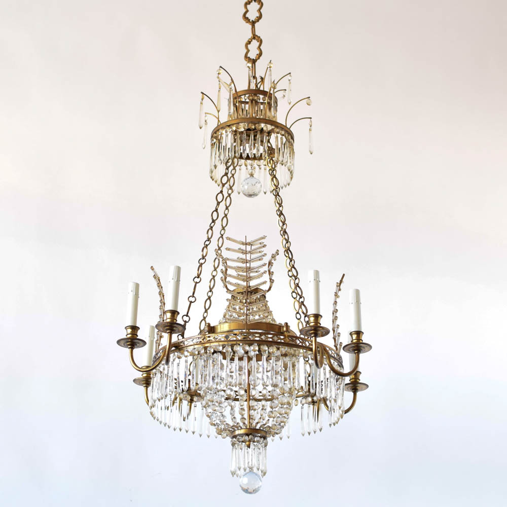 Bronze Chandelier w Crystal Branch Forms The Big Chandelier