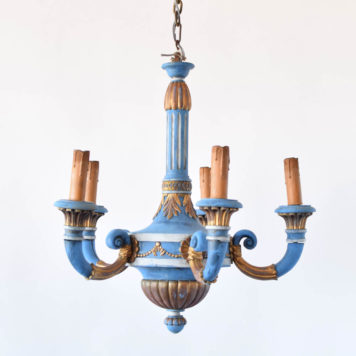 Empire Style Painted Wood Chandelier from Italy