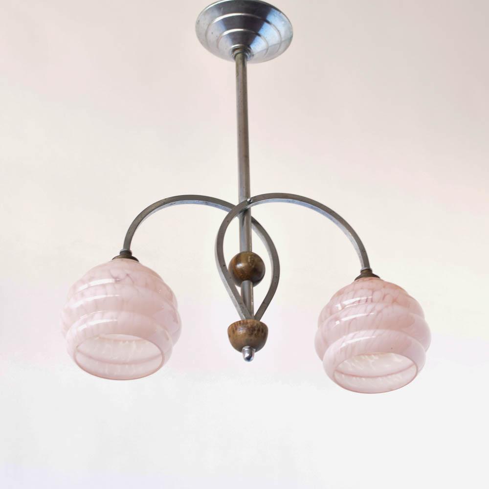 Art decoart glass pendant pink the big chandelier art deco pendant with pink art glass from france 500 aloadofball Image collections