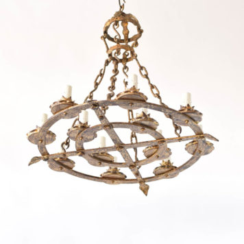 Antique Spanish Gilded Chandelier with Concentric Circle Design
