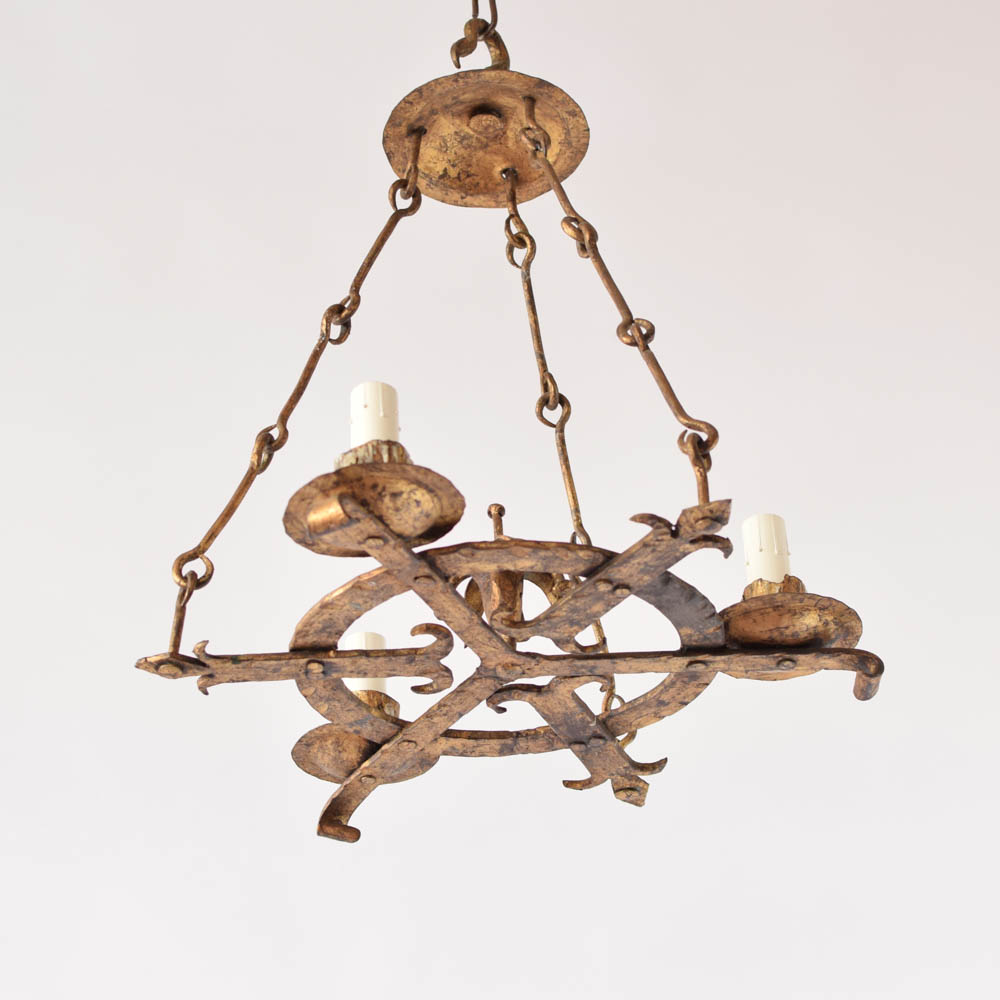 Pair of gilded forged chandeliers the big chandelier pair of gilded vintage spanish chandeliers aloadofball Images