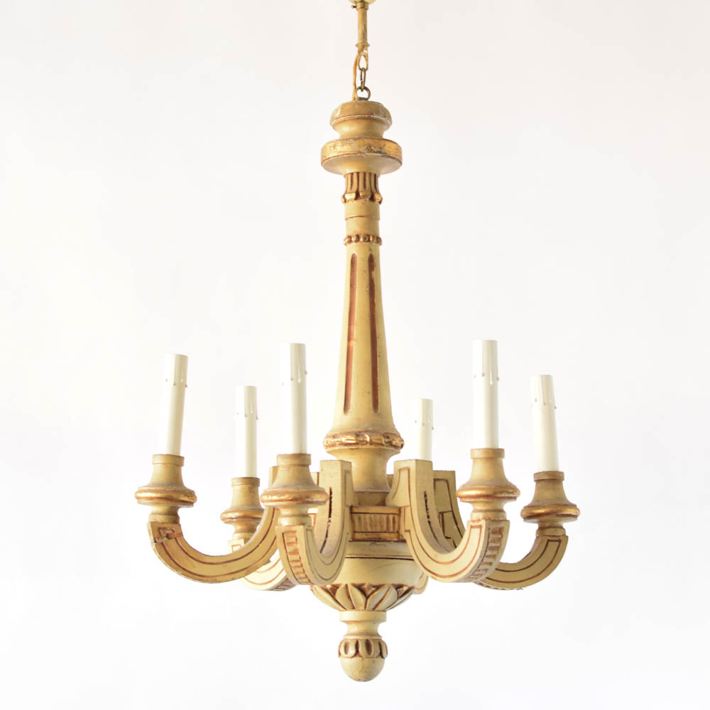 Vintage Painted Italian Chandelier