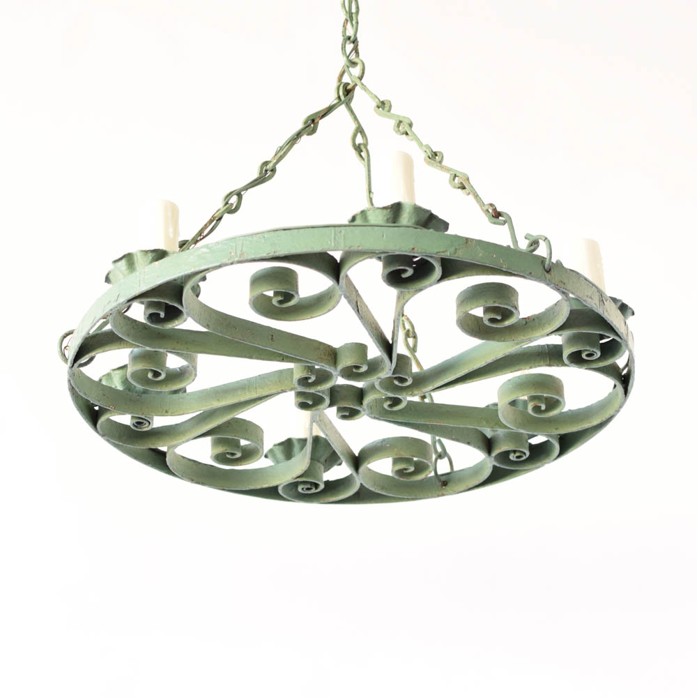 Flat chandelier wgreen patina the big chandelier vintage iron chandelier from europe with green patina arubaitofo Images