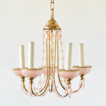 Vintage Italian Chandelier with Opalescent Crystals