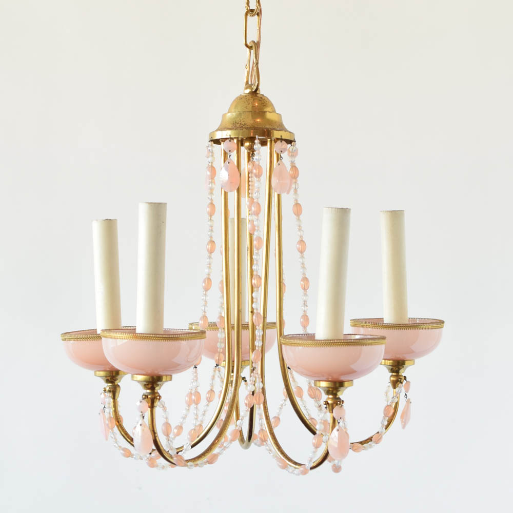 Italian chandelier wpink crystals the big chandelier vintage italian chandelier with opalescent crystals mozeypictures