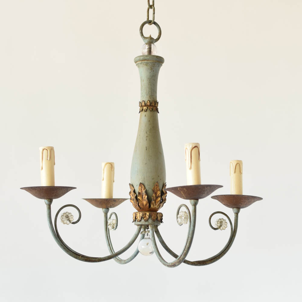 Vintage French Chandelier with Wood Column and Crystal Accents - Wood/Iron Chandelier - The Big Chandelier