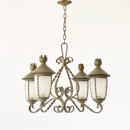 Vintage French Chandelier with mini lantern arms