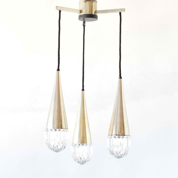 Mid Century Glass and Metal Pendant Chandelier