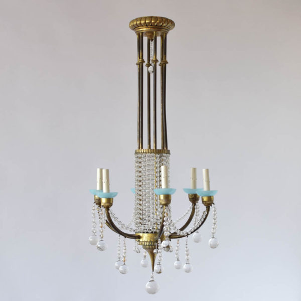Antique French Chandelier with Clear Crystal Balls and Blue Bobesches