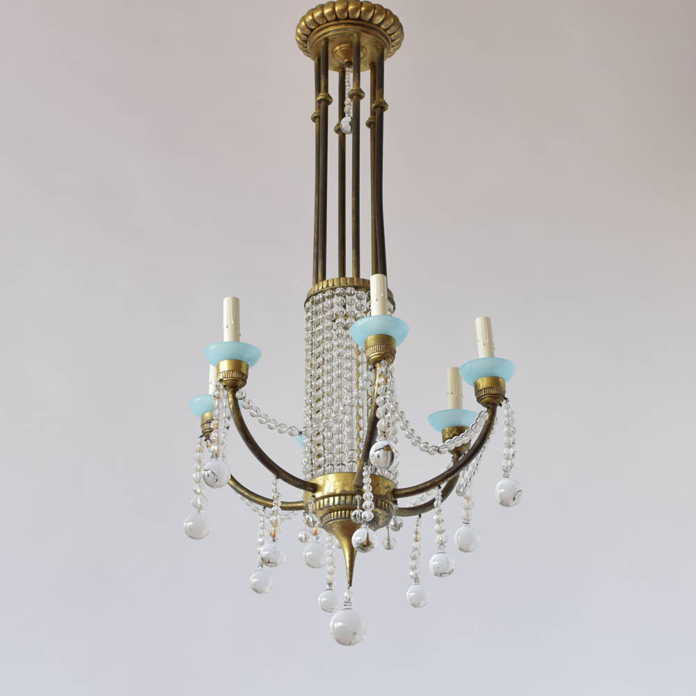 Crystal chandelier with blue cups the big chandelier arubaitofo Choice Image