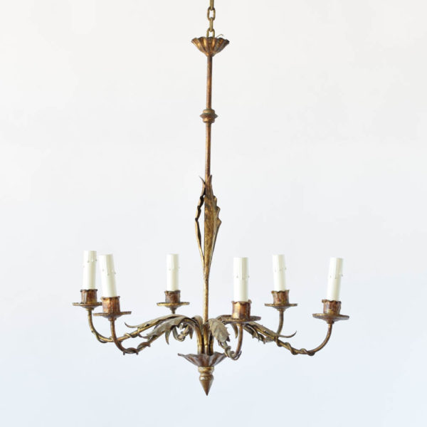 Vintage Gilded Iron Chandelier from Spain