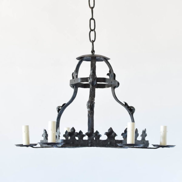 French Iron Chandelier with Fleur de Lis Design