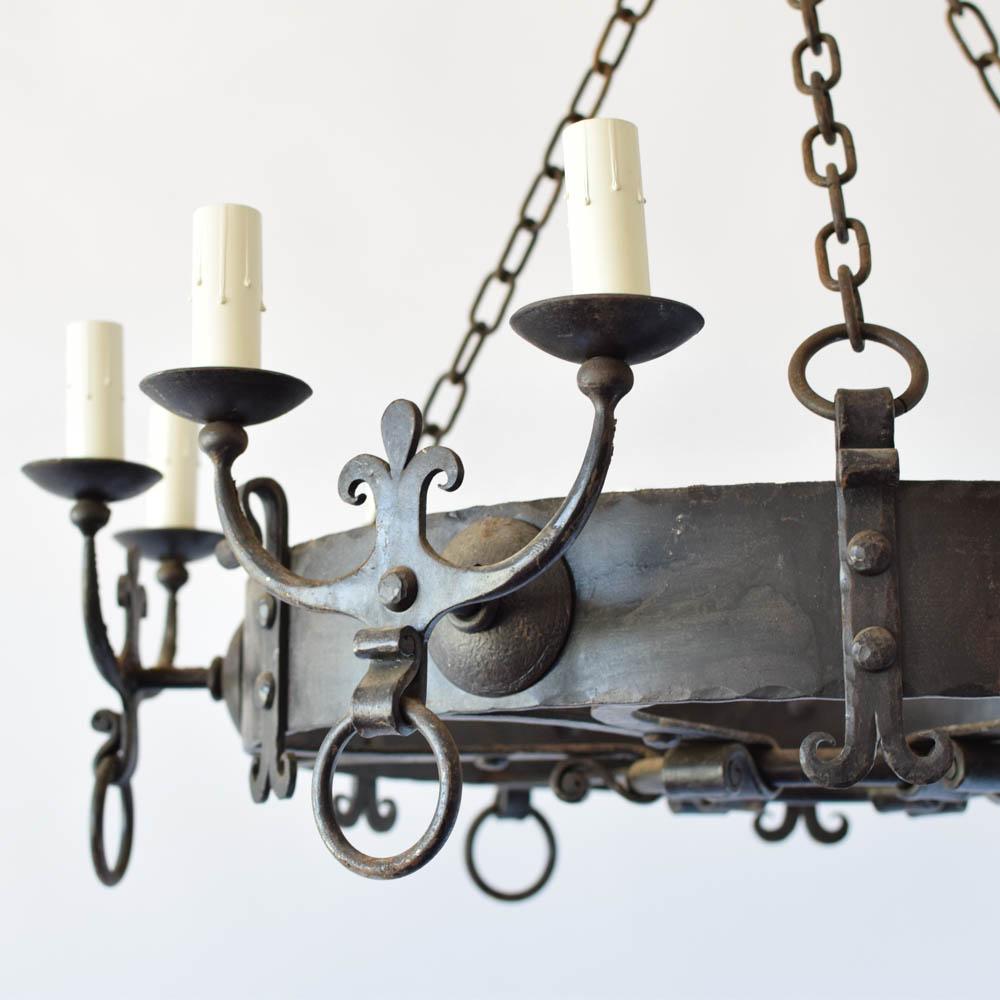 Large iron chandelier wfleur de lis arms the big chandelier aloadofball Choice Image