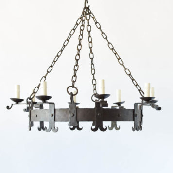 Large Hand Forged Iron Chandelier