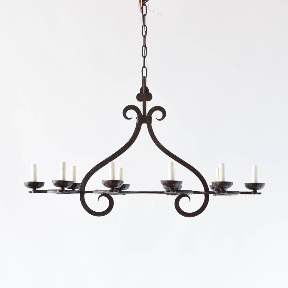 Long simple iron chandelier the big chandelier vintage iron chandelier from belgium arubaitofo Choice Image
