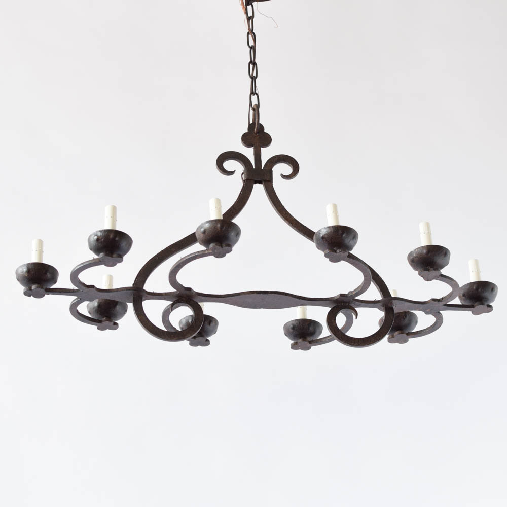 Long simple iron chandelier the big chandelier vintage iron chandelier from belgium 2000 arubaitofo Choice Image