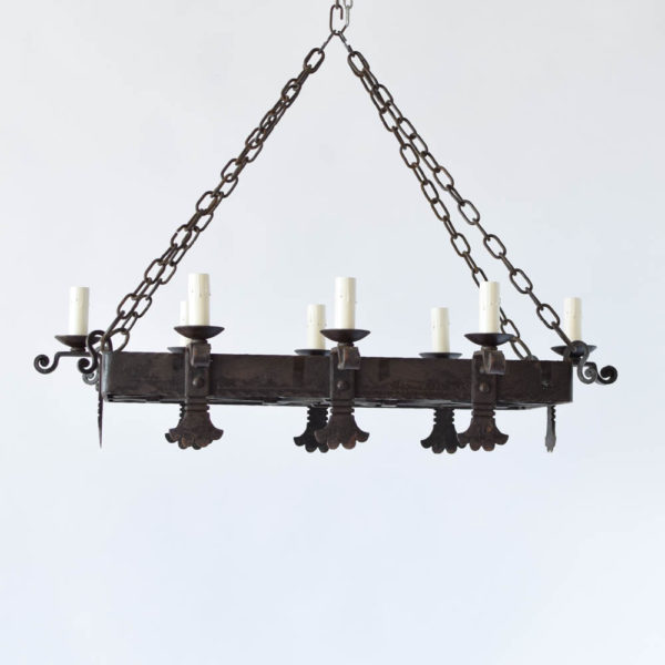 Antique Hand Forged French Iron Chandelier