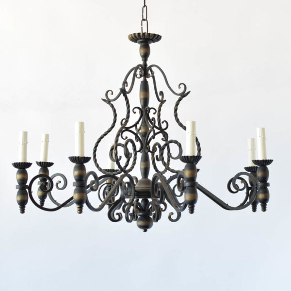 Vintage Iron Chandelier with Twisted Iron