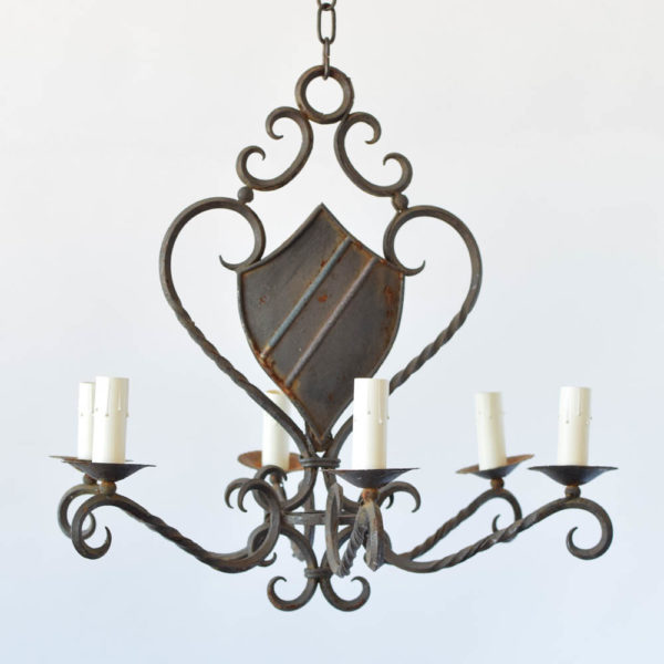 Vintage Iron Chandelier with Central Shield from Belgium